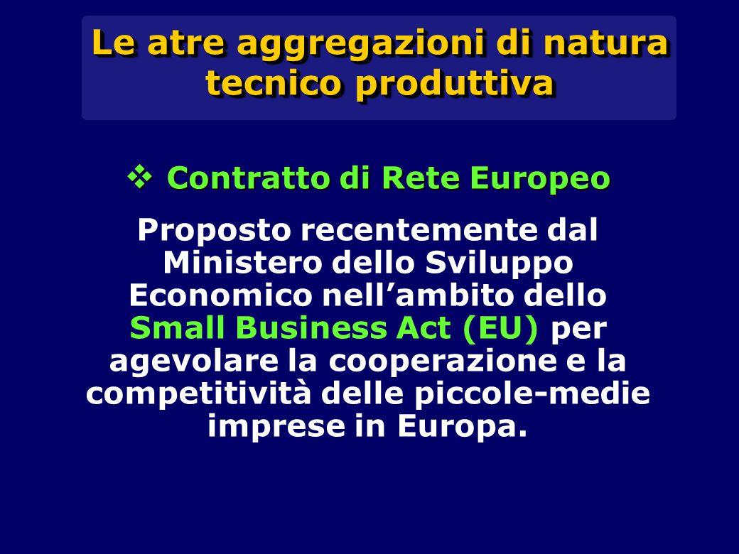 Le atre aggregazioni di natura tecnico produttiva  Contratto di Rete Europeo Proposto recentemente dal Ministero dello Sviluppo Economico nell'ambito dello Small Business Act (EU) per agevolare la cooperazione e la competitività delle piccole-medie imprese in Europa.