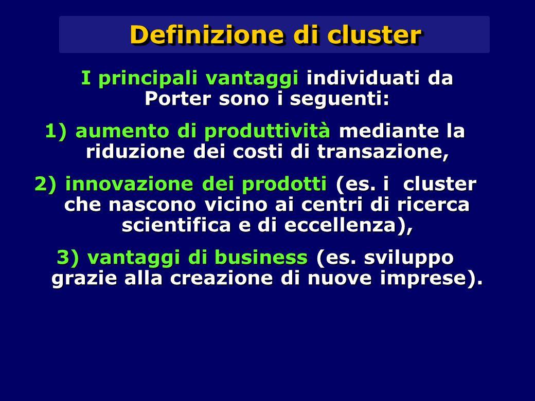 Definizione di cluster I principali vantaggi individuati da Porter sono i seguenti: 1) aumento di produttività mediante la riduzione dei costi di transazione, 2) innovazione dei prodotti (es.
