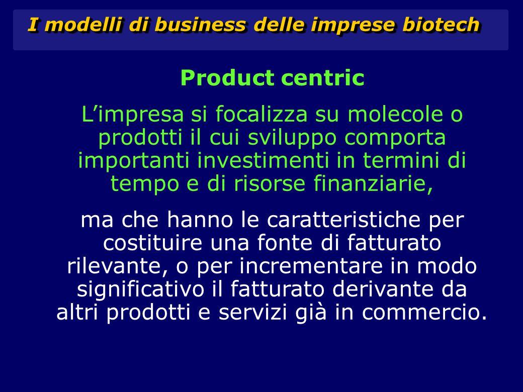 I modelli di business delle imprese biotech Product centric L'impresa si focalizza su molecole o prodotti il cui sviluppo comporta importanti investimenti in termini di tempo e di risorse finanziarie, ma che hanno le caratteristiche per costituire una fonte di fatturato rilevante, o per incrementare in modo significativo il fatturato derivante da altri prodotti e servizi già in commercio.
