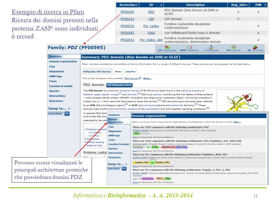 Informatica e Bioinformatica – A. A. 2013-2014 12 Esempio di ricerca in Pfam Ricerca dei domini presenti nella proteina ZASP: sono individuati 6 recor