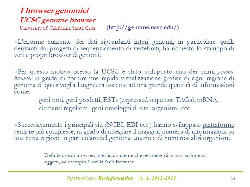 Informatica e Bioinformatica – A. A. 2013-2014 14 I browser genomici UCSC genome browser University of California Santa Cruz  L'enorme aumento dei da