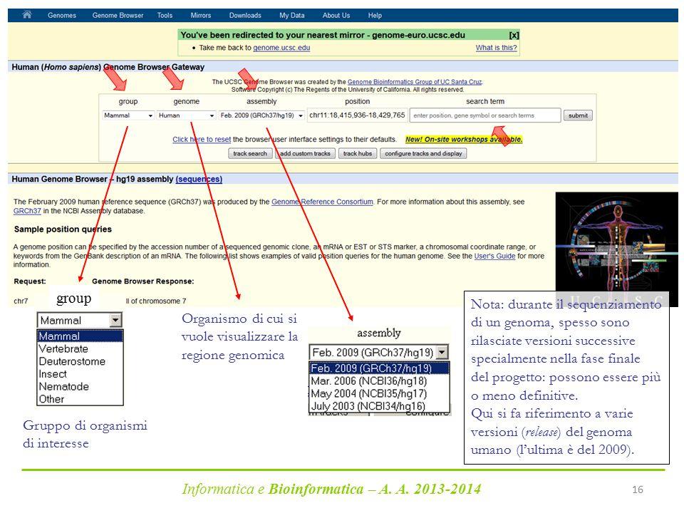 Informatica e Bioinformatica – A. A. 2013-2014 16 Organismo di cui si vuole visualizzare la regione genomica Gruppo di organismi di interesse group No