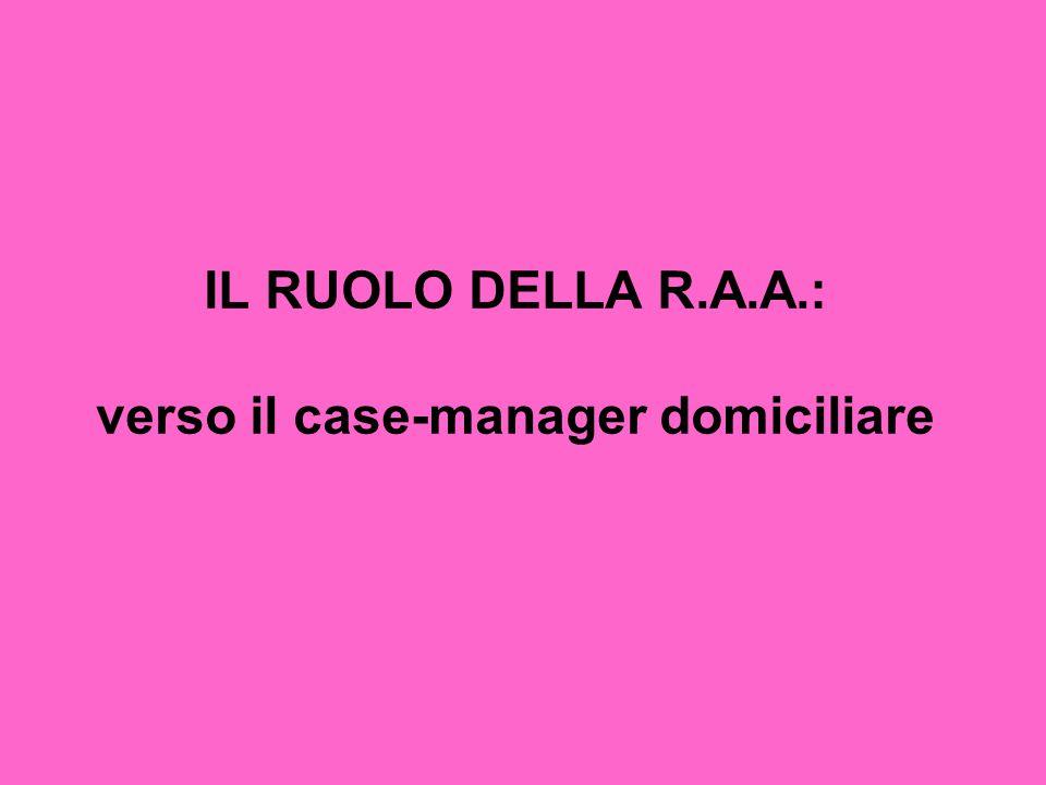 IL RUOLO DELLA R.A.A.: verso il case-manager domiciliare