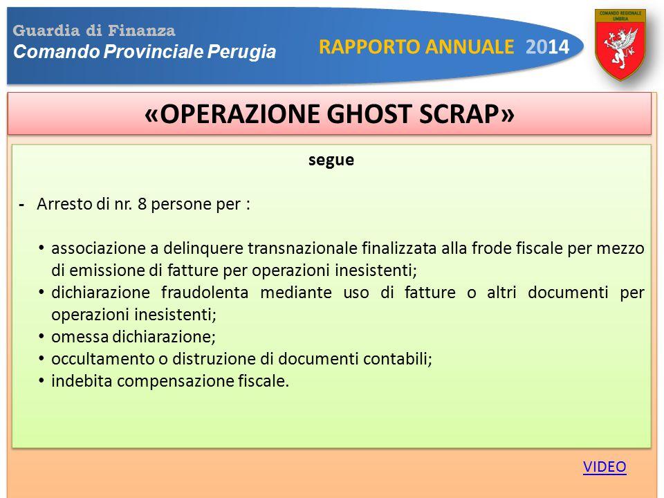 Guardia di Finanza Comando Provinciale Perugia RAPPORTO ANNUALE 2014 «OPERAZIONE GHOST SCRAP» VIDEO