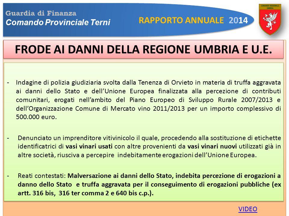 Guardia di Finanza Comando Provinciale Terni RAPPORTO ANNUALE 2014 FRODE AI DANNI DELLA REGIONE UMBRIA E U.E.