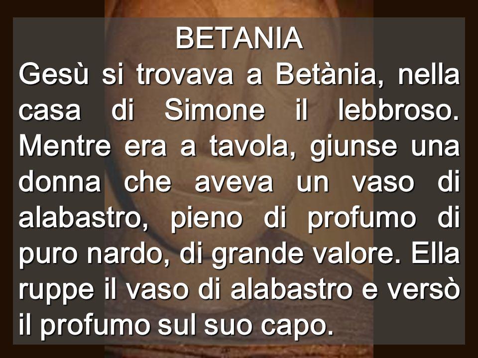BETANIA Gesù si trovava a Betània, nella casa di Simone il lebbroso.