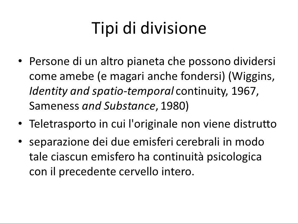 Tipi di divisione Persone di un altro pianeta che possono dividersi come amebe (e magari anche fondersi) (Wiggins, Identity and spatio-temporal contin