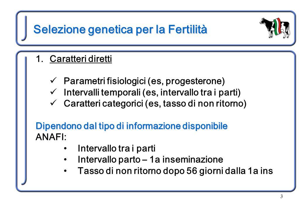 3 Selezione genetica per la Fertilità 1.Caratteri diretti Parametri fisiologici (es, progesterone) Intervalli temporali (es, intervallo tra i parti) C