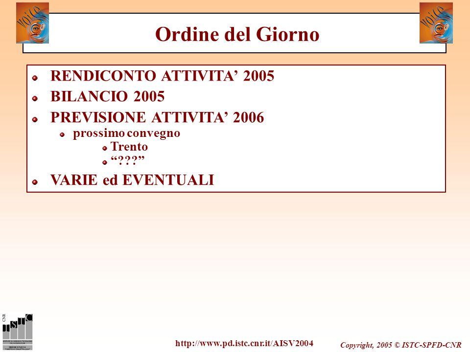 """Copyright, 2005 © ISTC-SPFD-CNR RENDICONTO ATTIVITA' 2005 BILANCIO 2005 PREVISIONE ATTIVITA' 2006 prossimo convegno Trento """"???"""" VARIE ed EVENTUALI ht"""