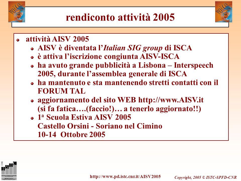 Copyright, 2005 © ISTC-SPFD-CNR attività AISV 2005 AISV è diventata l'Italian SIG group di ISCA è attiva l'iscrizione congiunta AISV-ISCA ha avuto gra