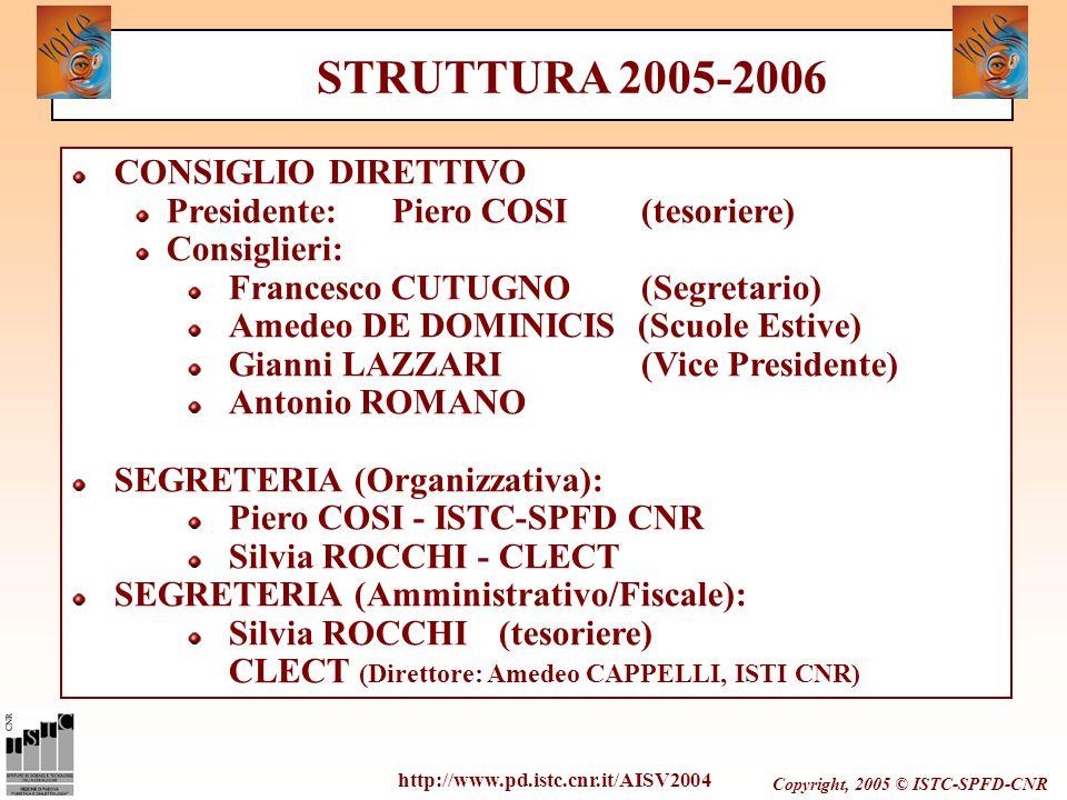 Copyright, 2005 © ISTC-SPFD-CNR CONSIGLIO DIRETTIVO Presidente:Piero COSI (tesoriere) Consiglieri: Francesco CUTUGNO (Segretario) Amedeo DE DOMINICIS