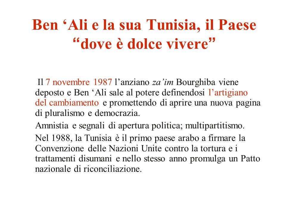 """Ben 'Ali e la sua Tunisia, il Paese """"dove è dolce vivere"""" Il 7 novembre 1987 l'anziano za'im Bourghiba viene deposto e Ben 'Ali sale al potere definen"""