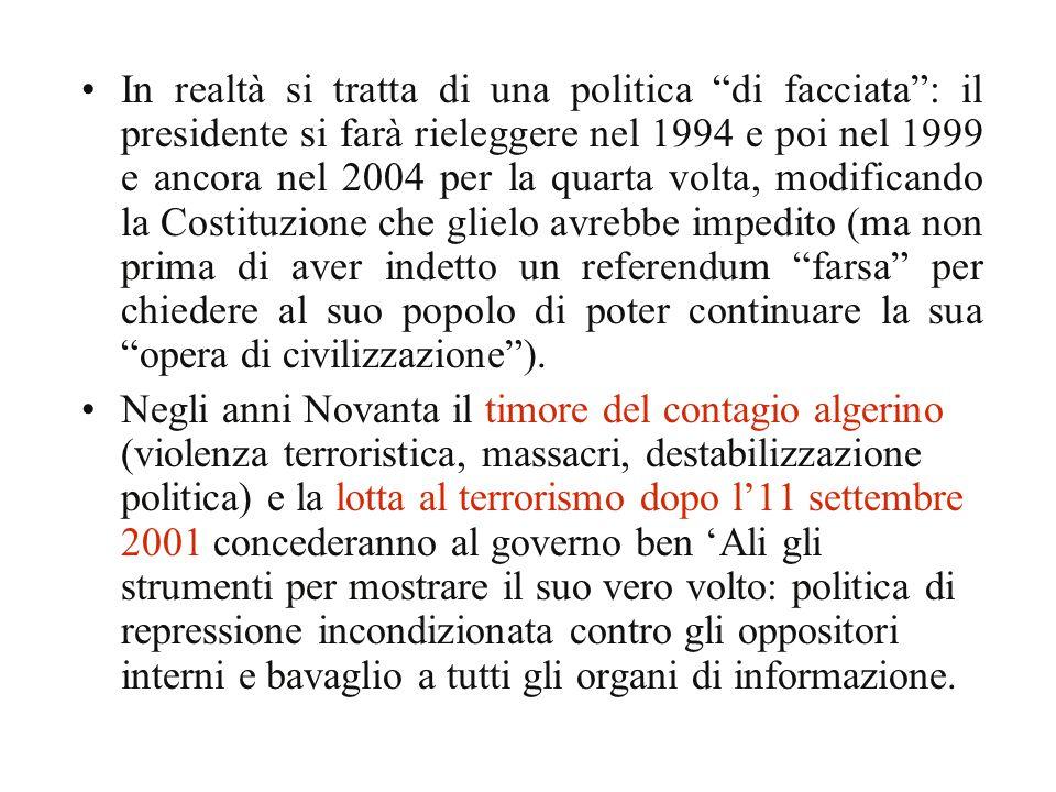 """In realtà si tratta di una politica """"di facciata"""": il presidente si farà rieleggere nel 1994 e poi nel 1999 e ancora nel 2004 per la quarta volta, mod"""