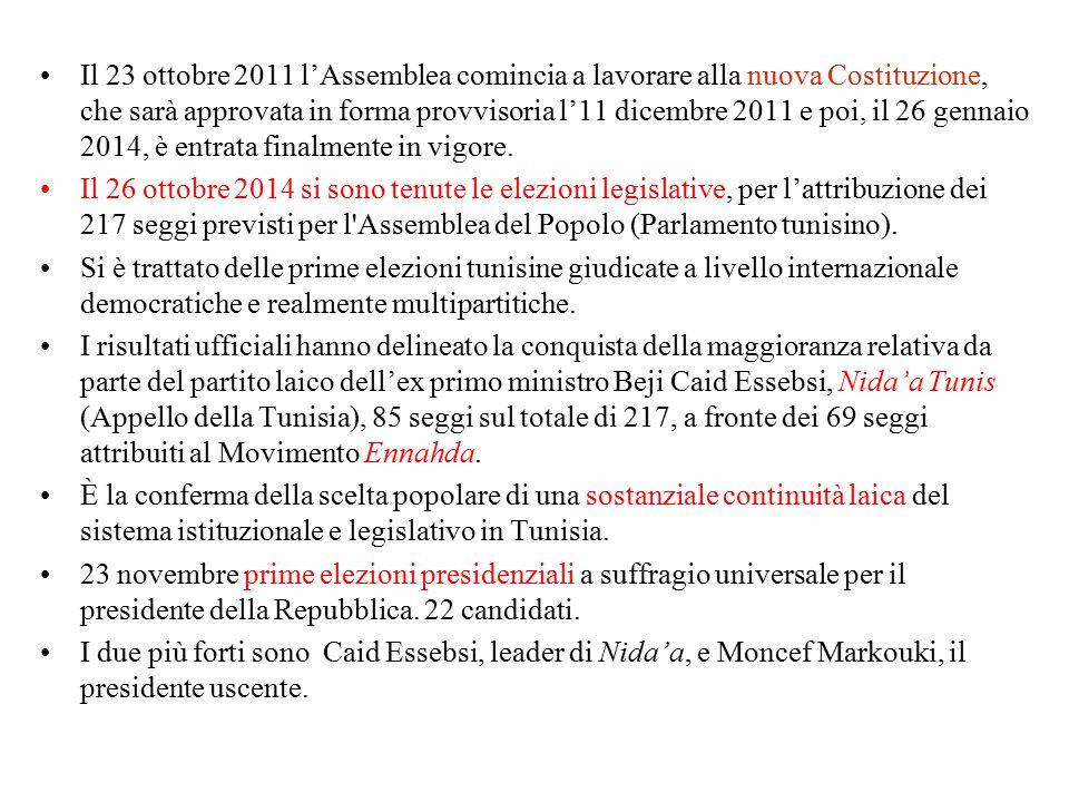 Il 23 ottobre 2011 l'Assemblea comincia a lavorare alla nuova Costituzione, che sarà approvata in forma provvisoria l'11 dicembre 2011 e poi, il 26 ge