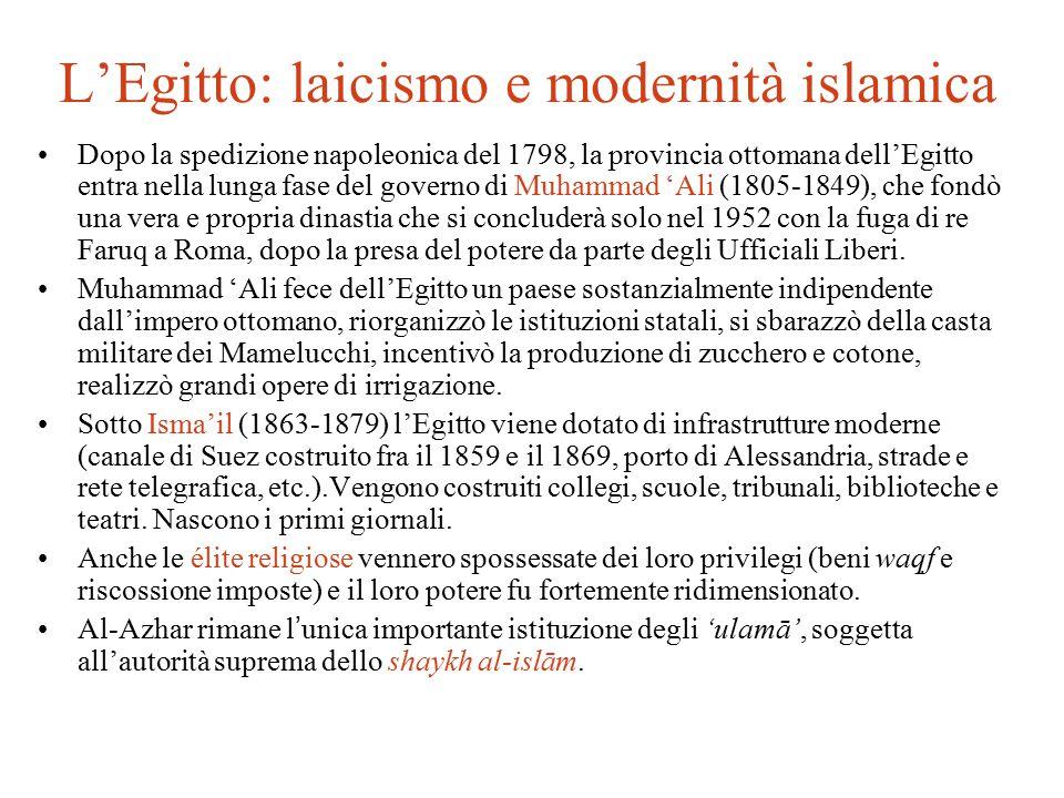 L'Egitto: laicismo e modernità islamica Dopo la spedizione napoleonica del 1798, la provincia ottomana dell'Egitto entra nella lunga fase del governo