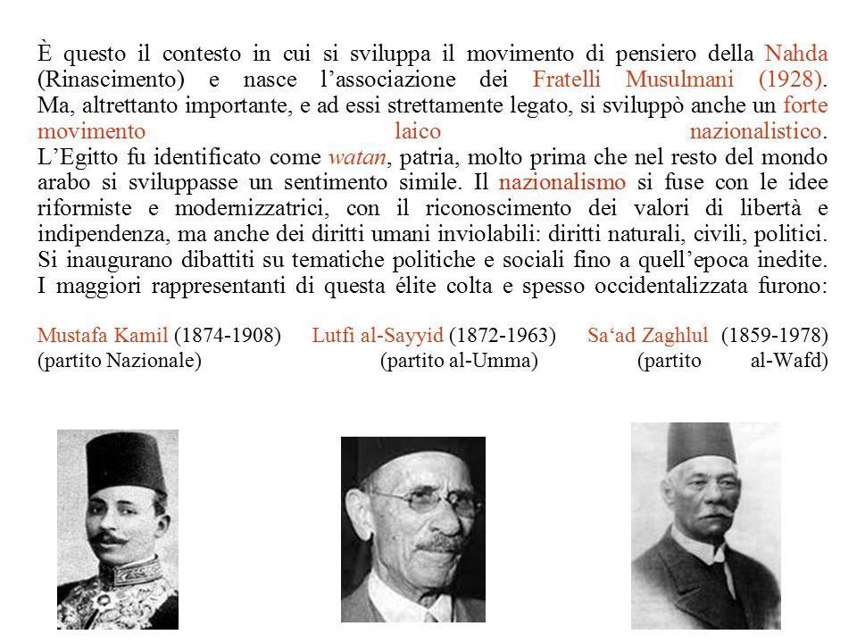 È questo il contesto in cui si sviluppa il movimento di pensiero della Nahda (Rinascimento) e nasce l'associazione dei Fratelli Musulmani (1928). Ma,
