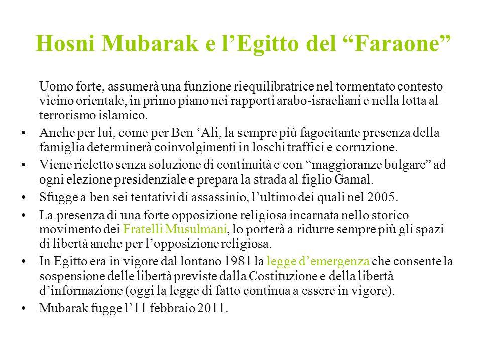 """Hosni Mubarak e l'Egitto del """"Faraone"""" Uomo forte, assumerà una funzione riequilibratrice nel tormentato contesto vicino orientale, in primo piano nei"""