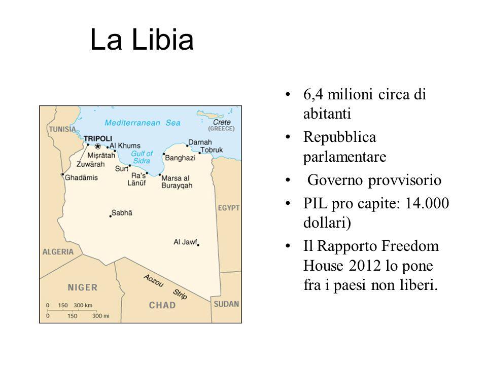 La Libia 6,4 milioni circa di abitanti Repubblica parlamentare Governo provvisorio PIL pro capite: 14.000 dollari) Il Rapporto Freedom House 2012 lo p