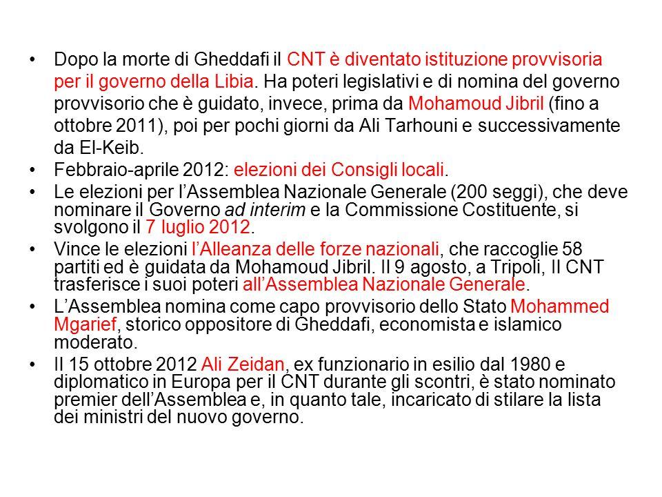 Dopo la morte di Gheddafi il CNT è diventato istituzione provvisoria per il governo della Libia. Ha poteri legislativi e di nomina del governo provvis