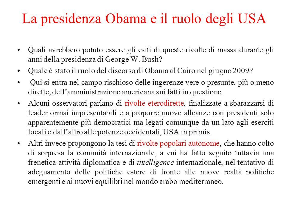 La presidenza Obama e il ruolo degli USA Quali avrebbero potuto essere gli esiti di queste rivolte di massa durante gli anni della presidenza di Georg