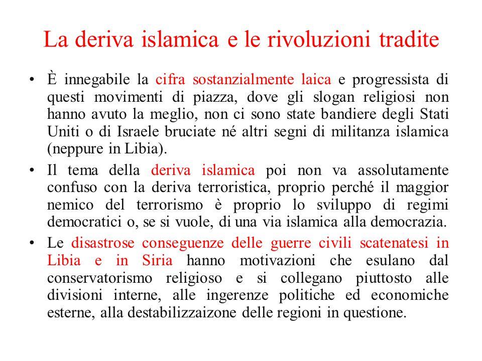 La deriva islamica e le rivoluzioni tradite È innegabile la cifra sostanzialmente laica e progressista di questi movimenti di piazza, dove gli slogan