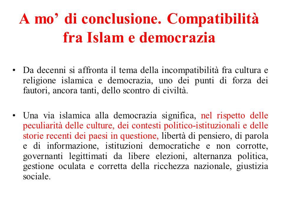 A mo' di conclusione. Compatibilità fra Islam e democrazia Da decenni si affronta il tema della incompatibilità fra cultura e religione islamica e dem