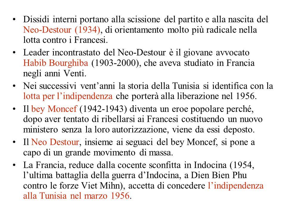Dissidi interni portano alla scissione del partito e alla nascita del Neo-Destour (1934), di orientamento molto più radicale nella lotta contro i Fran