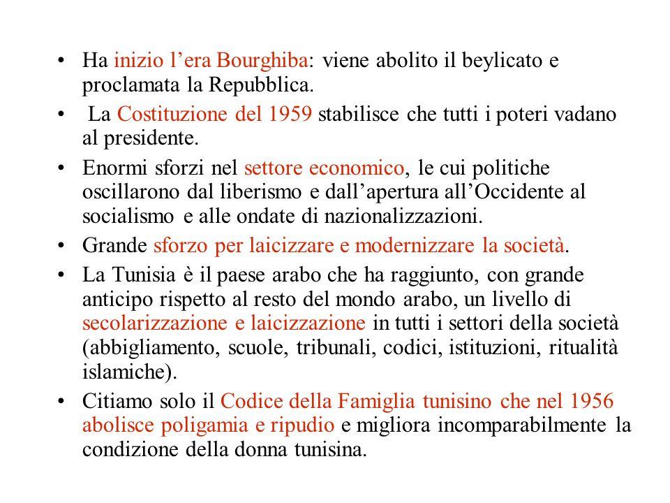 Ha inizio l'era Bourghiba: viene abolito il beylicato e proclamata la Repubblica. La Costituzione del 1959 stabilisce che tutti i poteri vadano al pre