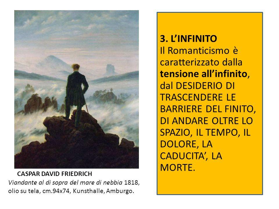 Viandante al di sopra del mare di nebbia 1818, olio su tela, cm.94x74, Kunsthalle, Amburgo. CASPAR DAVID FRIEDRICH 3. L'INFINITO Il Romanticismo è car