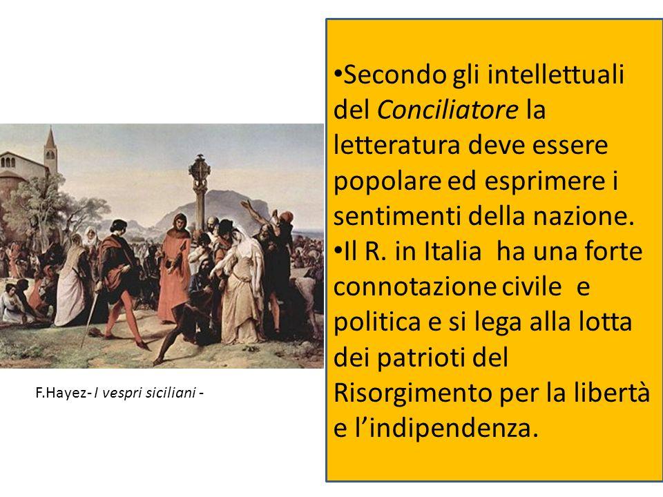 Secondo gli intellettuali del Conciliatore la letteratura deve essere popolare ed esprimere i sentimenti della nazione. Il R. in Italia ha una forte c