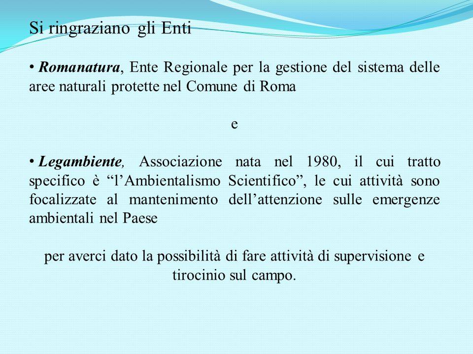 Si ringraziano gli Enti Romanatura, Ente Regionale per la gestione del sistema delle aree naturali protette nel Comune di Roma e Legambiente, Associaz