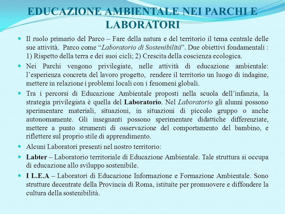 EDUCAZIONE AMBIENTALE NEI PARCHI E LABORATORI Il ruolo primario del Parco – Fare della natura e del territorio il tema centrale delle sue attività. Pa