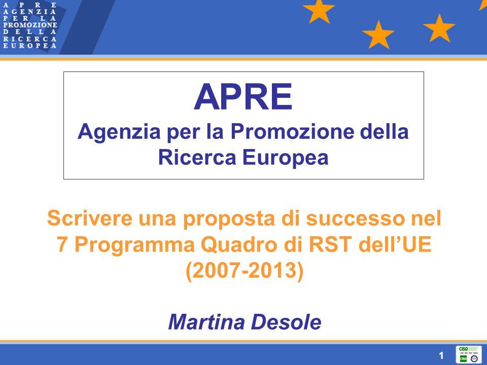 1 APRE Agenzia per la Promozione della Ricerca Europea Scrivere una proposta di successo nel 7 Programma Quadro di RST dell'UE (2007-2013) Martina Desole