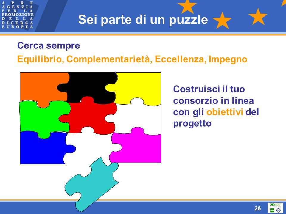 26 Sei parte di un puzzle Costruisci il tuo consorzio in linea con gli obiettivi del progetto Cerca sempre Equilibrio, Complementarietà, Eccellenza, Impegno
