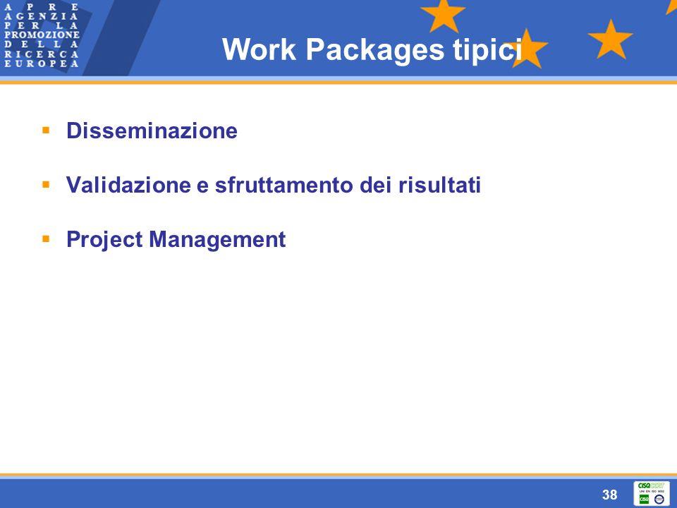 38 Work Packages tipici  Disseminazione  Validazione e sfruttamento dei risultati  Project Management