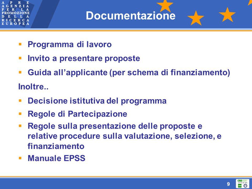 9 Documentazione  Programma di lavoro  Invito a presentare proposte  Guida all'applicante (per schema di finanziamento) Inoltre..