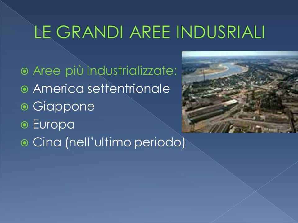  Aree più industrializzate:  America settentrionale  Giappone  Europa  Cina (nell'ultimo periodo)