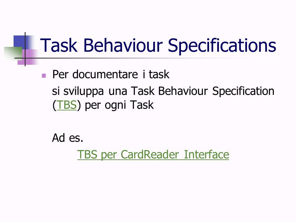 Task Behaviour Specifications Per documentare i task si sviluppa una Task Behaviour Specification (TBS) per ogni TaskTBS Ad es. TBS per CardReader Int