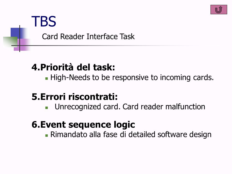 TBS 4.Priorità del task: High-Needs to be responsive to incoming cards.