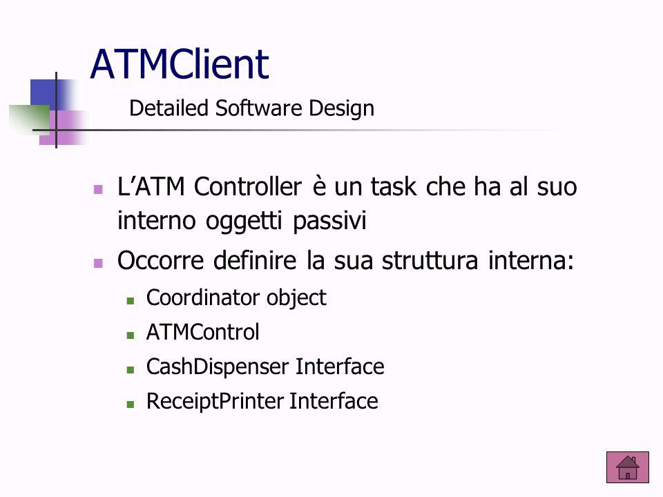 ATMClient L'ATM Controller è un task che ha al suo interno oggetti passivi Occorre definire la sua struttura interna: Coordinator object ATMControl Ca