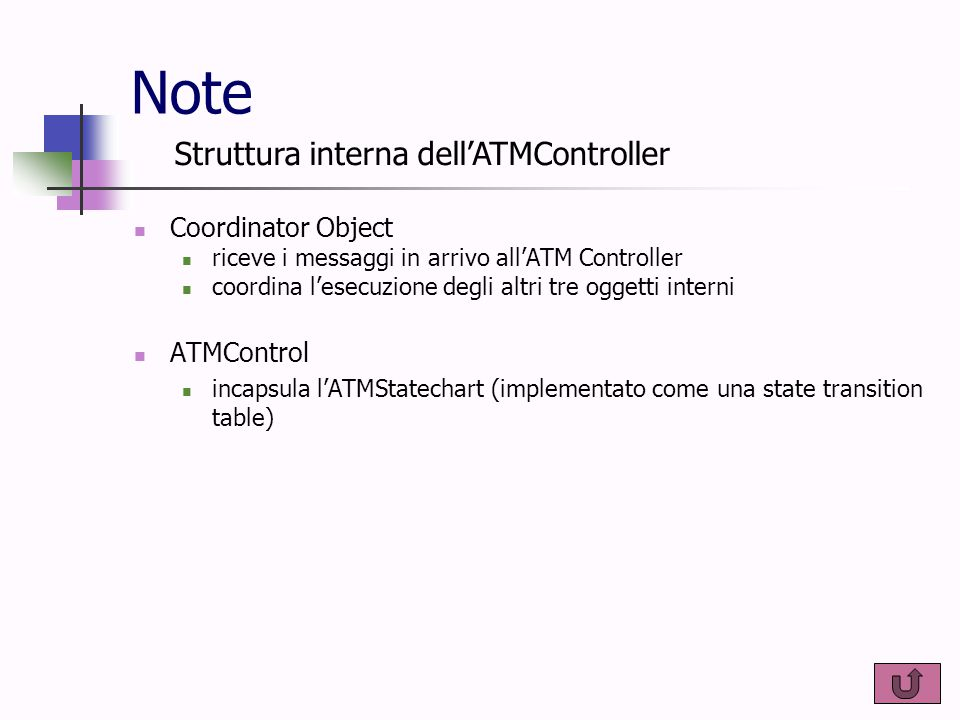 Note Coordinator Object riceve i messaggi in arrivo all'ATM Controller coordina l'esecuzione degli altri tre oggetti interni ATMControl incapsula l'AT