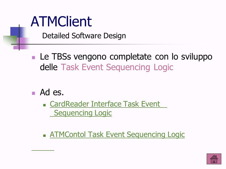 ATMClient Le TBSs vengono completate con lo sviluppo delle Task Event Sequencing Logic Ad es. CardReader Interface Task Event Sequencing Logic CardRea