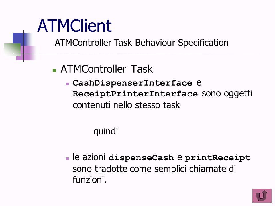 ATMClient ATMController Task CashDispenserInterface e ReceiptPrinterInterface sono oggetti contenuti nello stesso task quindi le azioni dispenseCash e
