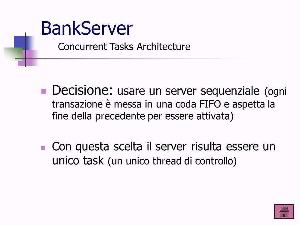 BankServer Decisione: usare un server sequenziale (ogni transazione è messa in una coda FIFO e aspetta la fine della precedente per essere attivata) C