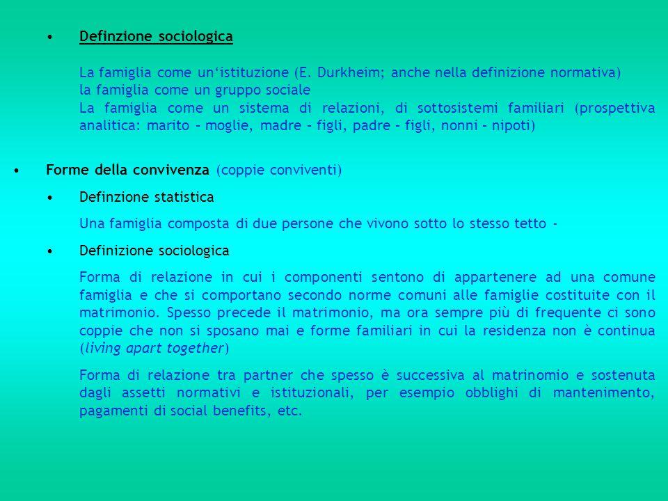 Definzione sociologica La famiglia come un'istituzione (E. Durkheim; anche nella definizione normativa) la famiglia come un gruppo sociale La famiglia