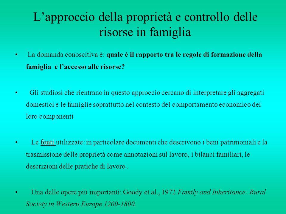 L'approccio della proprietà e controllo delle risorse in famiglia La domanda conoscitiva è: quale è il rapporto tra le regole di formazione della fami