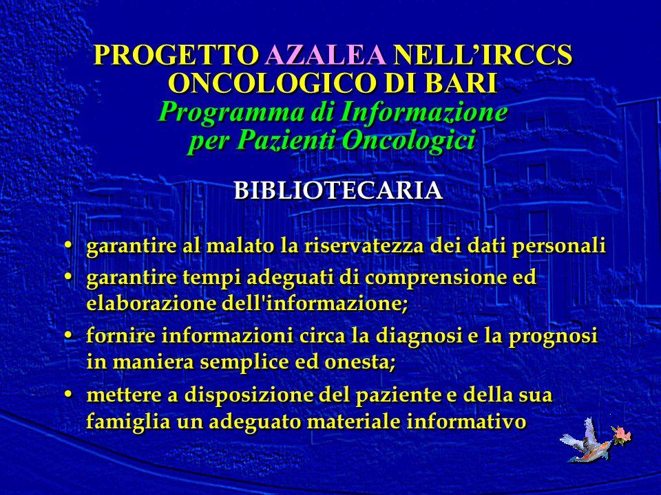 BIBLIOTECARIA garantire al malato la riservatezza dei dati personali garantire tempi adeguati di comprensione ed elaborazione dell'informazione; forni