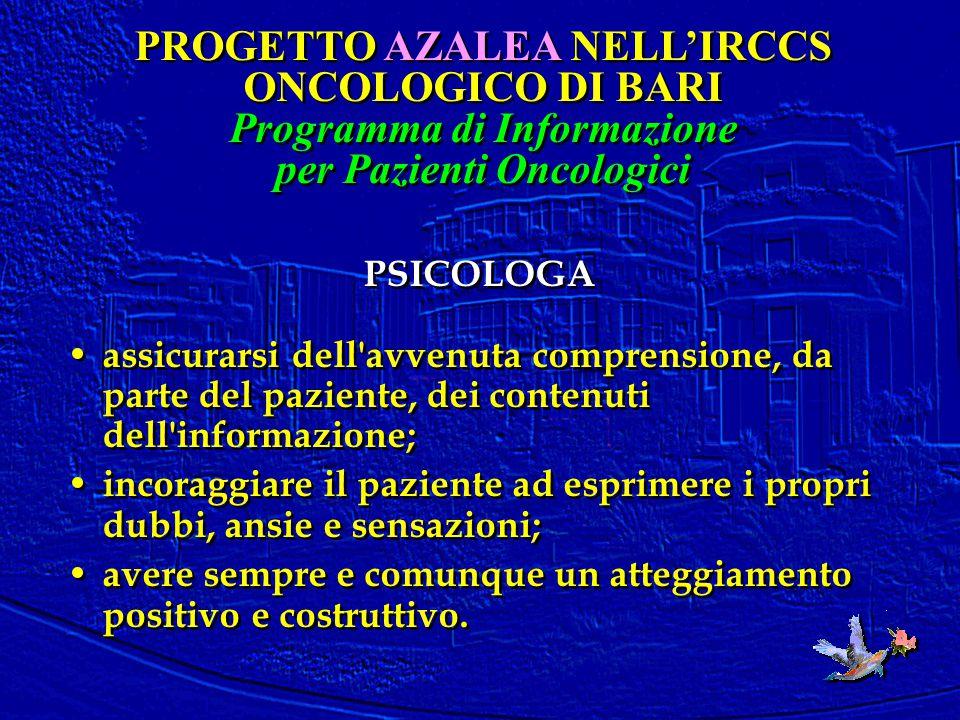 PSICOLOGA assicurarsi dell'avvenuta comprensione, da parte del paziente, dei contenuti dell'informazione; incoraggiare il paziente ad esprimere i prop