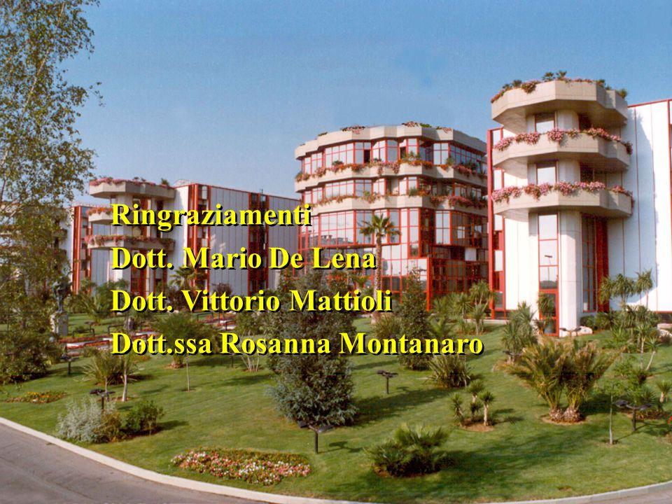 Ringraziamenti Dott. Mario De Lena Dott. Vittorio Mattioli Dott.ssa Rosanna Montanaro Ringraziamenti Dott. Mario De Lena Dott. Vittorio Mattioli Dott.