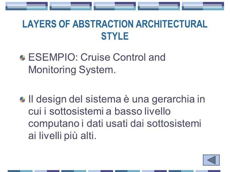 LAYERS OF ABSTRACTION ARCHITECTURAL STYLE ESEMPIO: Cruise Control and Monitoring System.